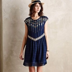ANTHROPOLOGIE CALLIOPE EMBROIDERED SWING DRESS - L